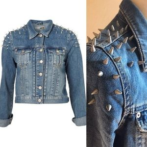 TOPSHOP Women's Moto Spike Denim Jacket